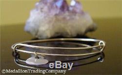 14K Solid White Gold Custom Alex Ani Style Bar Heart Charm Expandable Bracelet