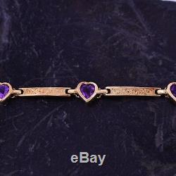 14k YG Estate Scroll Motif Bar Link Heart Amethyst Bracelet 7 1/2