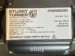 2016 Stuart Turner Monsoon 2 Bar Positive Twin Shower Pump 46415 & Hoses 44423
