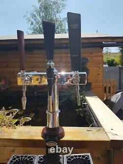 3 Tap Chrome T-bar Beer Font/pump For Man Cave/shed Pub/home Bar