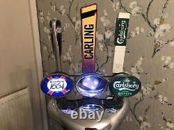 3 Way Chrome T Bar Beer Pump With Light Up Feature And Driptrays. Bar Mancave