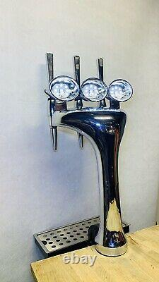3 tap beer font/ chrome beer tap/ man cave / home bar beer tap/ beer pump tap