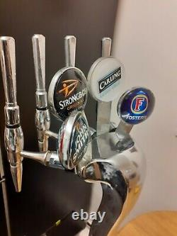 4 Tap Beer Pump Heavy Chrome Condensating Fosters Carling Sbow MANCAVE HOME BAR
