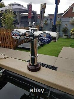4 Tap Brass T-bar Beer Font/pump For Man Cave/shed Pub/home Bar. Refurbishe