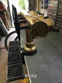 4 Tap Brass T-bar Beer Font/pump For Man Cave/shed Pub/home Bar. Refurbished