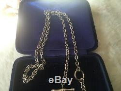 9Ct White Gold T-bar & Heart Belcher Chain Necklace (7.4grams)