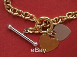 9ct 375 yellow white gold 18 T-bar bracelet with heart charms 7.80 grams
