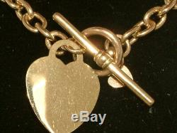 9ct GOLD T-BAR HEART RING CHAIN NECKLACE 9 CARAT GOLD
