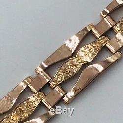 9ct Rose Gold Engraved 3 Bar Gate Bracelet 10mm 16.1g Heart Lock Fastener #418