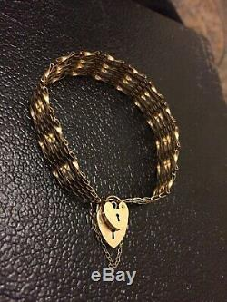 9ct Solid Gold Gate 6 Bar Bracelet With Double Heart Padlock Safety Clasp 8grams
