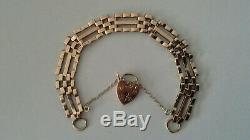 9ct YELLOW GOLD 3 BAR GATE BRACELET WITH HEART PADLOCK 14.2g PREOWNED