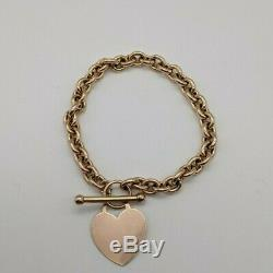 9ct Yellow Gold Albert Chain Bracelet with Heart Pendant and T-Bar