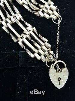 9ct gold 5 Bar Gate Bracelet with heart shaped lock and safety chain 10.7g