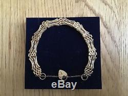 ASJ 375 9ct Gold 4 Bar Gate Bracelet with Heart Padlock fastening, 17.5cm in Box
