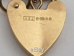 ASJ 375 9ct Gold 6 Bar Gate Bracelet With Heart Padlock Fastening 13.4g