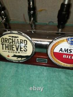 Angram 4 font Chrome and wood bar beer pump with drip trays and bracket