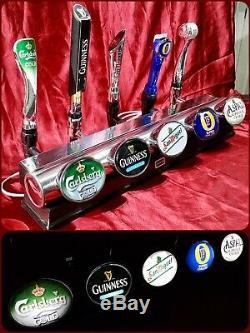 Angram 5 beer lager drink pump tap home T bar font light chrome mancave