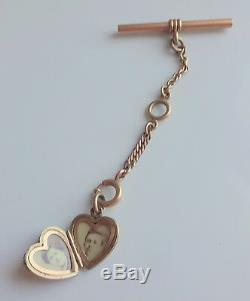 Antique Fancy Men's Rose Gold Filled T Bar Chain Pocket Watch Fob Heart Locket
