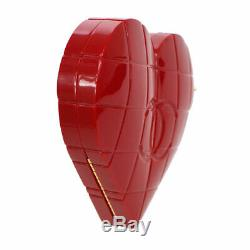 Auth CHANEL Choco Bar Heart Shaped CC Clutch Party Bag Red Plastic VTG GS01907