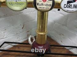 BRASS T BAR BEER PUMP FONT 5 BEER BAR TAPS home bar man cave carling fosters etc