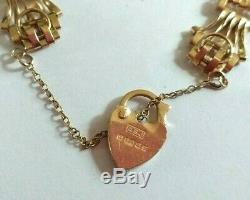 Bracelet 9 Ct Gold 5 Bar Gate Bracelet With Locking Heart/security Chain, Pretty