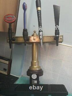 Brass T bar 4 beer pump with Fosters/Mansfield/strongbowithcarlsberg/Guinness