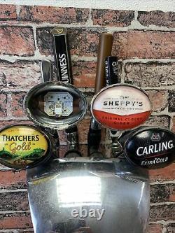 CHROME 4 WAY BEER PUMP. HOME BAR/MANCAVE Guinness Carling Thatchers Outdoors Bar