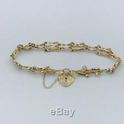 Childrens Solid 9ct Yellow Gold Gate Bar Bracelet Heart Lock Fastener #417