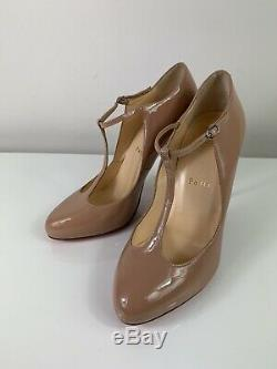 Christian Louboutin T Poppins 100 T-bar Nude Patent Pumps 39.5