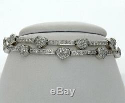 Diamond double row heart bar bracelet 18K white gold round brilliant 4.50C 22.9G