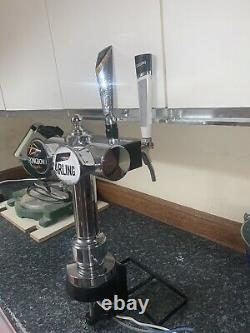 Double Chrome Beer pump tap pump font. Man cave/Bar. Used. Badges included