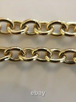 Fine Ladies 7 Vintage 9ct Gold Fancy Cable Link Bracelet Chain + Heart & T-bar