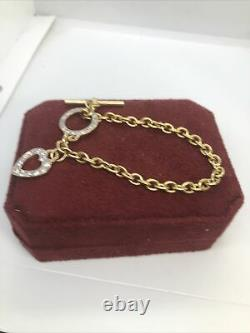 Fully HM 9CT Gold Albertina Chain With Circle, Heart Charms And A Hallmarked T Bar