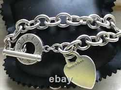 Genuine Very Heavy Tiffany & Co. 925 Sterling Silver Plain Heart T Bar Necklace