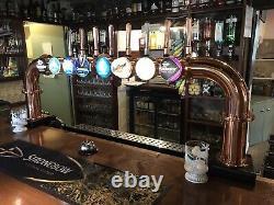 Industrial 8 Beer Taps Pumps Dark Copper Pipe Bridge Pub Bar Hotel Restaurant