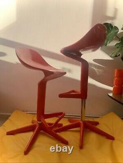 KARTELL Antonio Citterio Red Spoon Stool x 2 Gas Pump Bar Stool Chair