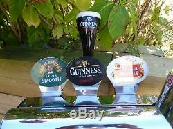Large 3 Tap Chrome Beer Pump Tap Stella Guinness John Smiths Home Bar Pub
