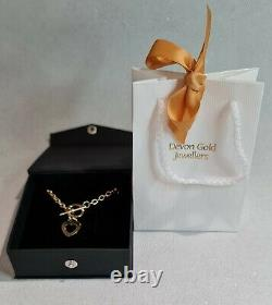 Modern Design 9ct Yellow Gold Open Heart T-bar 16 Trace Chain Necklace B0846