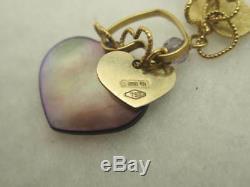 Nanis 18k Yellow Gold Dangling Purple Pearl Hearts with Diamond Bar Clasp