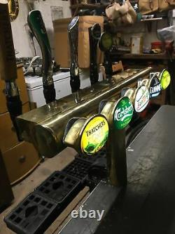 Porta 5 Tap All Brass Beer Font/pump For Man Cave/shed Pub/home Bar. Light Up