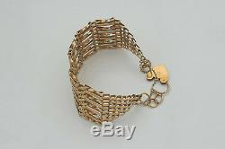 SUPERB QUALITY HM 9ct GOLD 9 BAR GATE BRACELET with HEART LOCK 18.56 g