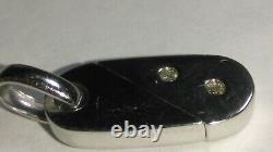 Solid 18k white gold transforming bar-heart diamond pendant 2.96 grams very cool