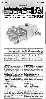 Speck, drain jetting High Pressure Pump with belt and cogs NP25 50lpm 210bar