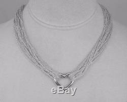 TIFFANY & CO. Multi Chain Mesh Sterling Silver Heart T-Bar Toggle Necklace