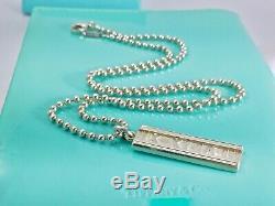 Tiffany Co. 925 Silver Atlas Roman Numeral Bar Tag Pendant 20in /15.6g 190320F