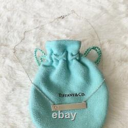 Tiffany & Co. Paloma Picasso Silver Loving Heart Bar Pendant 18 Necklace POUCH