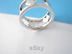 Tiffany & Co RARE Silver Five (5) Hearts Heart Bar Ring Size 5.5