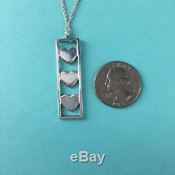 Tiffany & Co Silver Three Triple Heart Bar Pendant 16 Necklace