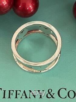 Tiffany&Co Stencil Heart Bar Ring Sterling Silver 5 Heart SZ 6.25 Pouch Box Rare