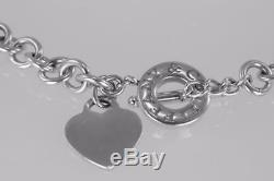 Tiffany & Co. Sterling Silver 925 Blank Heart Tag Toggle T Bar 16 Chain Necklace